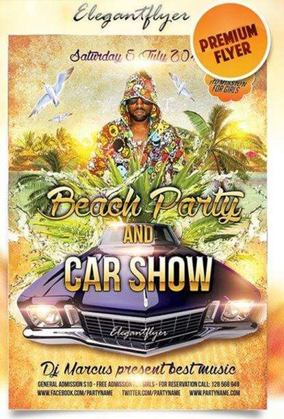 beach ongoing celebration and car show on elegant flyer