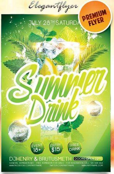 summer drink on elegant flyer