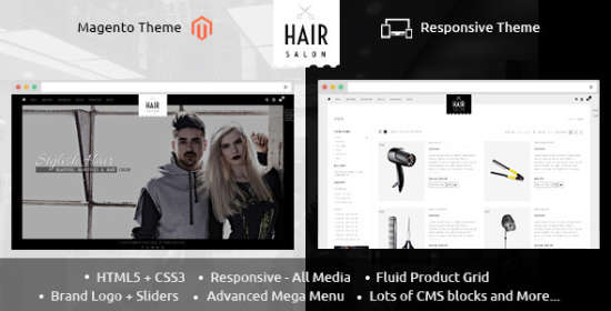 hair salon magento responsive theme