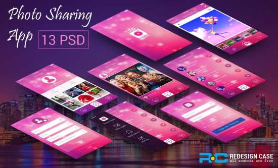 creative photo sharing app ui psd