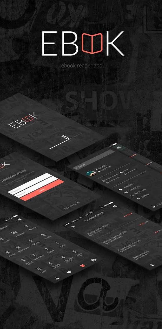 ebook app ui psd