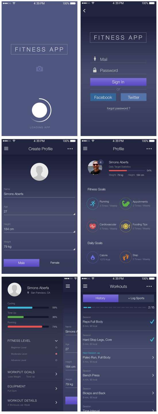 fitness app ui kit psd