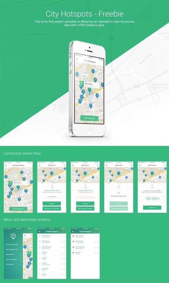 flat hotspots app ui psd