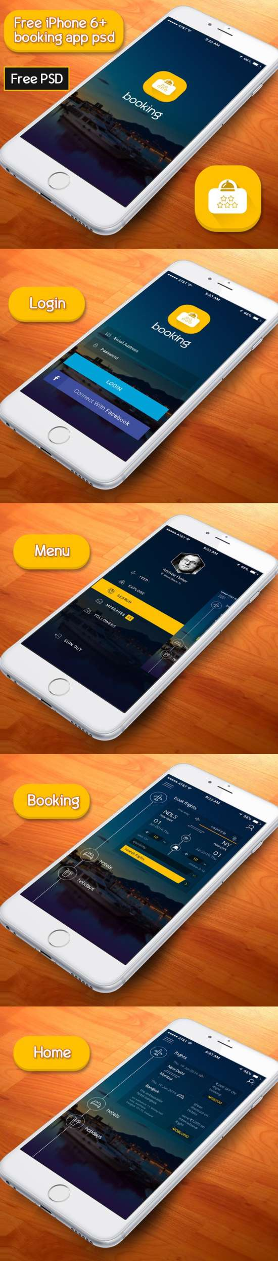 free booking app psd based on iphone 6