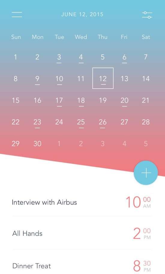 free calendar app ui psd
