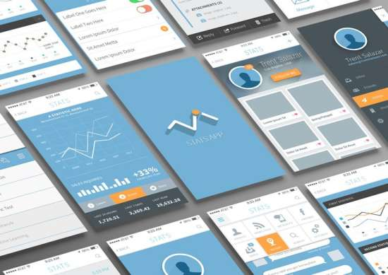 free statistics and evaluation app ui psd