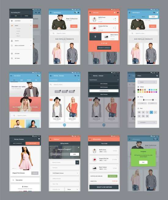 Free E Commerce App Ui Psd