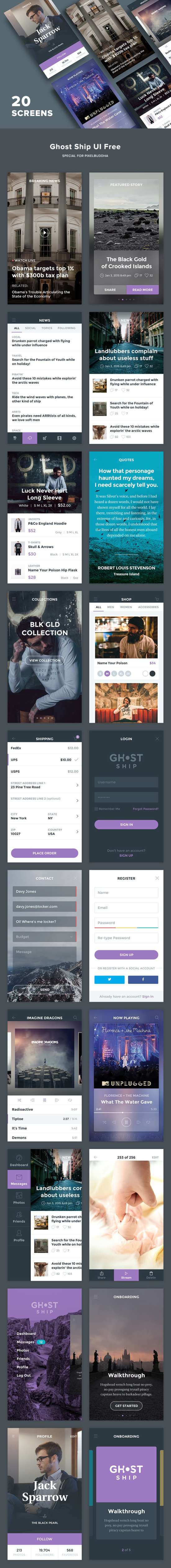 ghost ship mobile app ui kit psd