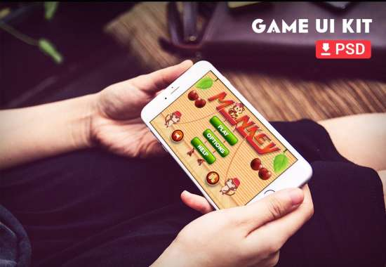hit the monkey online game ui kit psd for iphone 6