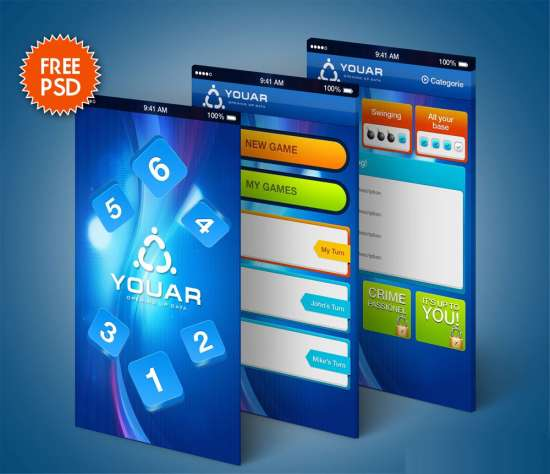 mobile online game gui kit psd