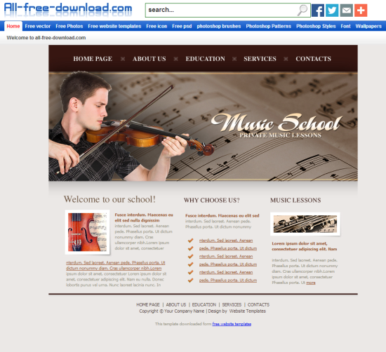 free music college education blogger template