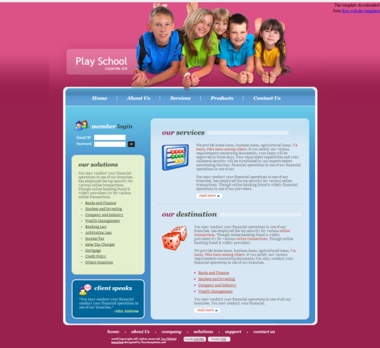 play school education template