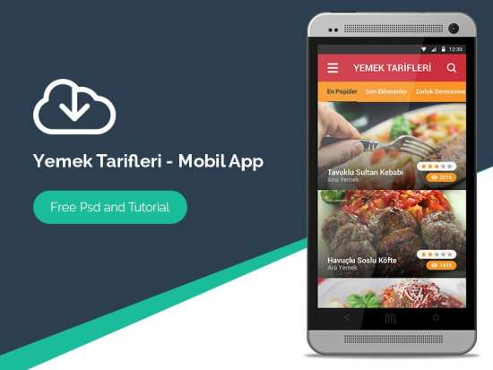 recipe andriod app that is mobile psd