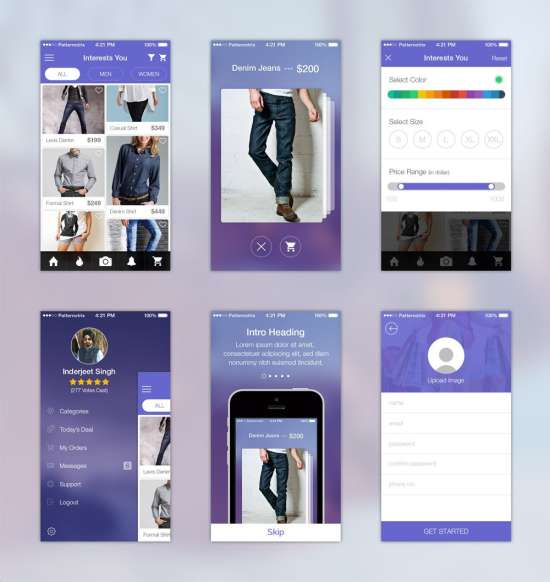 shopping app ui kit psd