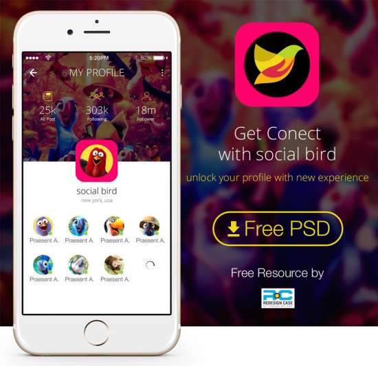 social bird app mobile ui psd for iphone 6s plus