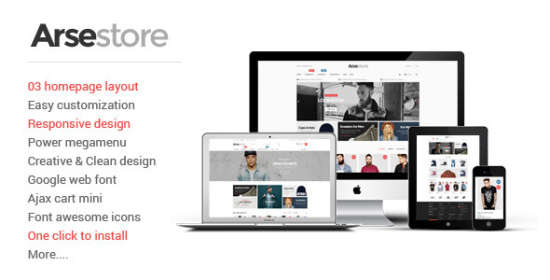 arse responsive magento fashion theme