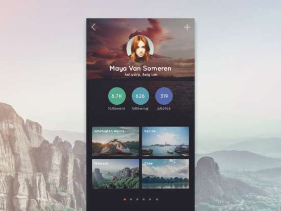 travel app profile ui psd