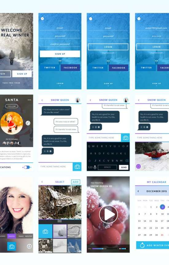 winter ui kit psd for mobile app