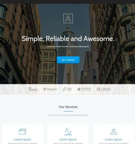 parallax one wordpress theme that is bootstrap width=