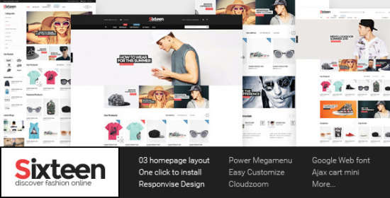 sixteen responsive magento fashion theme