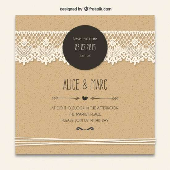 free cardboard wedding invitation with lacy design