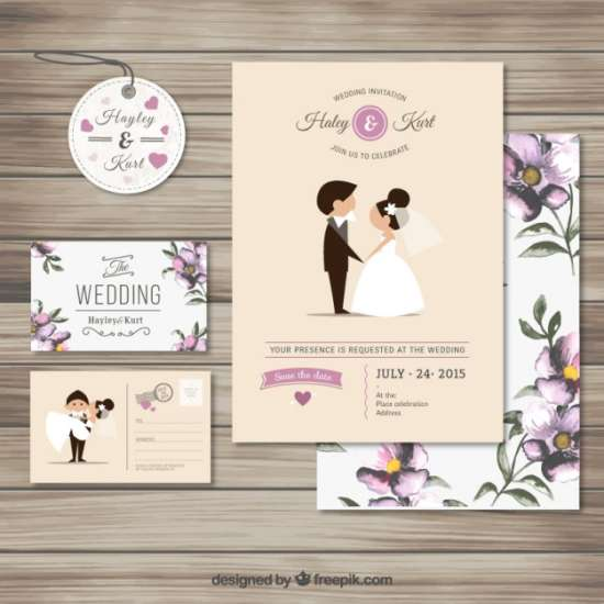 free cute wedding invitation collection