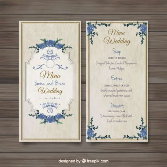 free old fashioned wedding menu