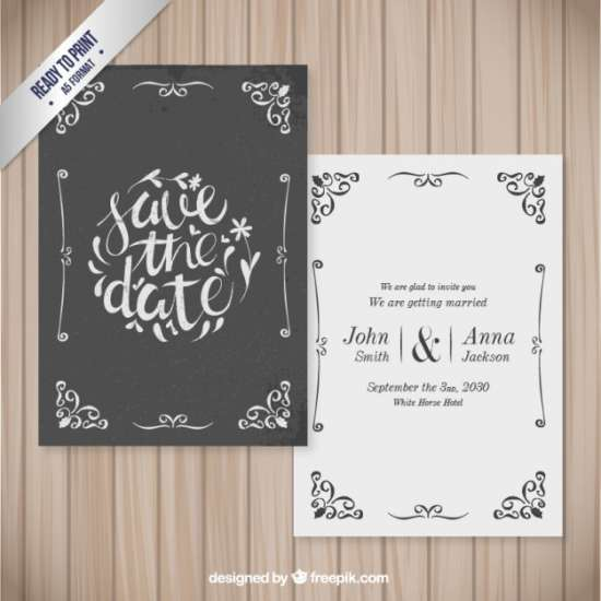 free decorative wedding card in retro style