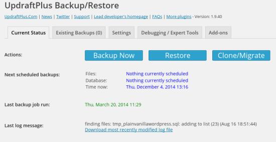 updraftplus backup and repair