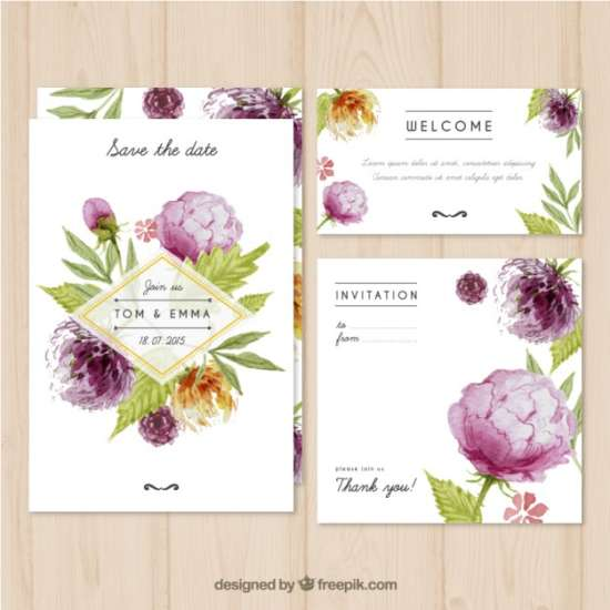 watercolor wedding invitation with plants
