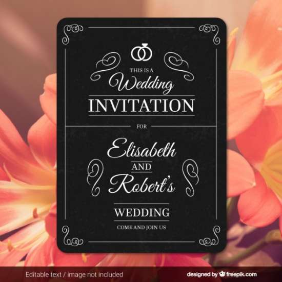 wedding card in retro style