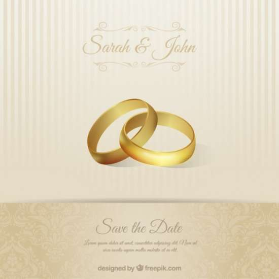 wedding invitation card with bands