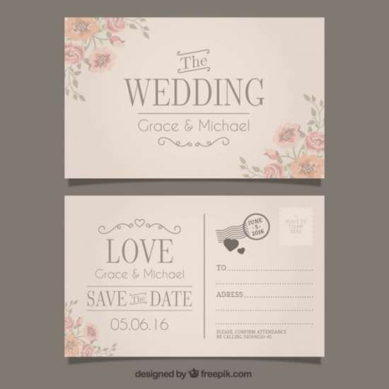 free wedding invitation in postcard style