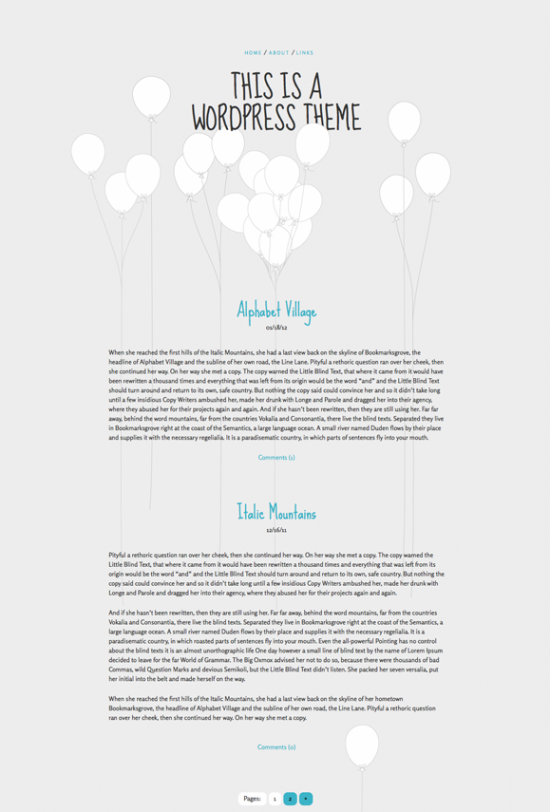 balloons free minimalist wordpress theme
