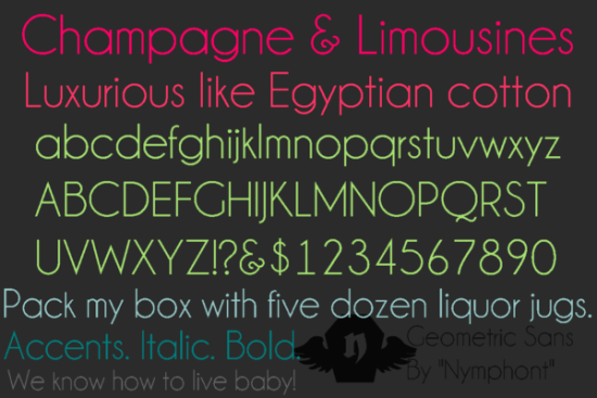 champagne limousines font by nymphont