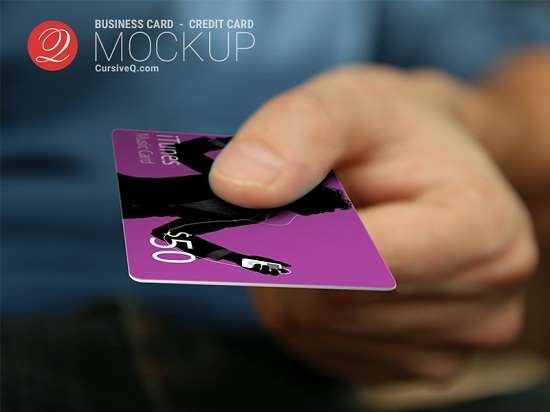 credit card hand mockup psd template