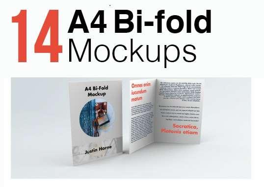 free bifold a4 brochure leaflet mockup pack