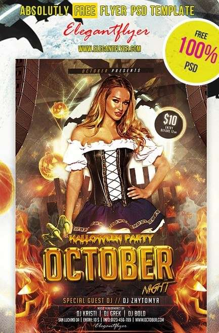 october night club and party free flyer psd template
