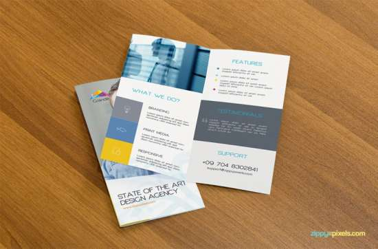 psd mockup of two bifold flyers