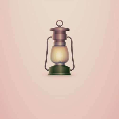 how to create a vintage camping lantern icon