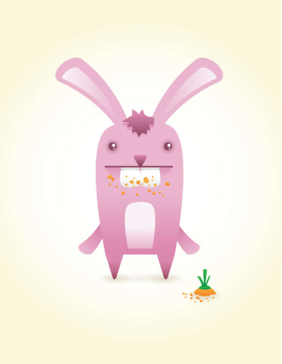 creating a cute bunny vector character