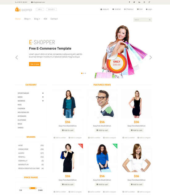 eshopper best free ecommerce html template