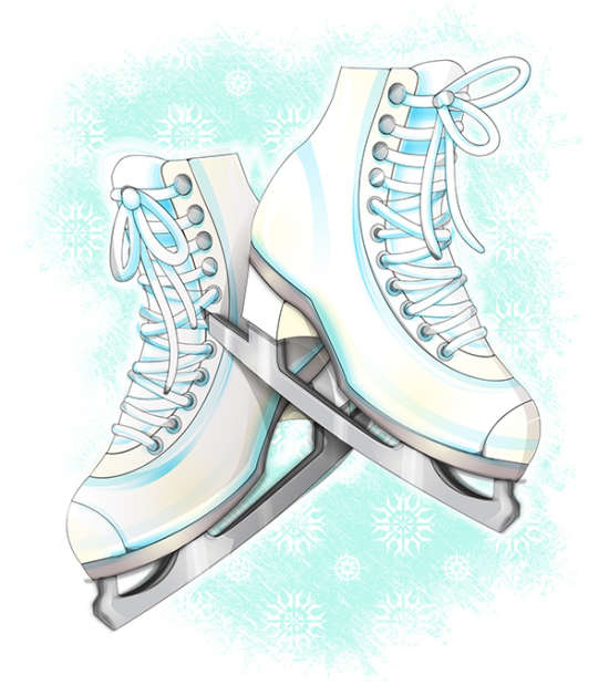 how to create ice skate shoe illustration