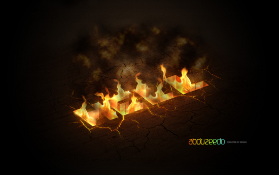 burning hell free photoshop text effect tutorial
