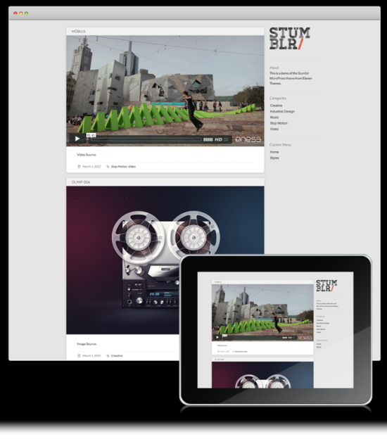 stumblr tumblr style minimalist wordpress theme
