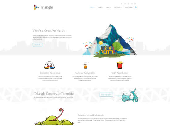 triangle free responsive multipurpose template