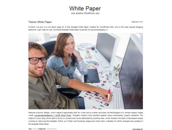 white paper free minimalist wordpress theme