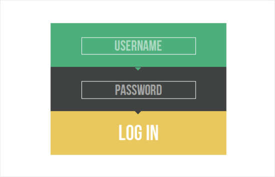 colorful login form