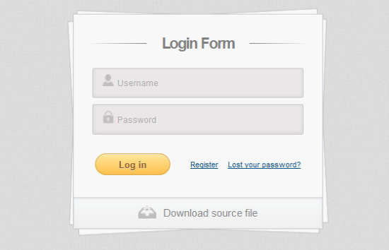 login form utilizing html5 and css3