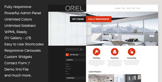 oriel responsive interior design wordpress theme